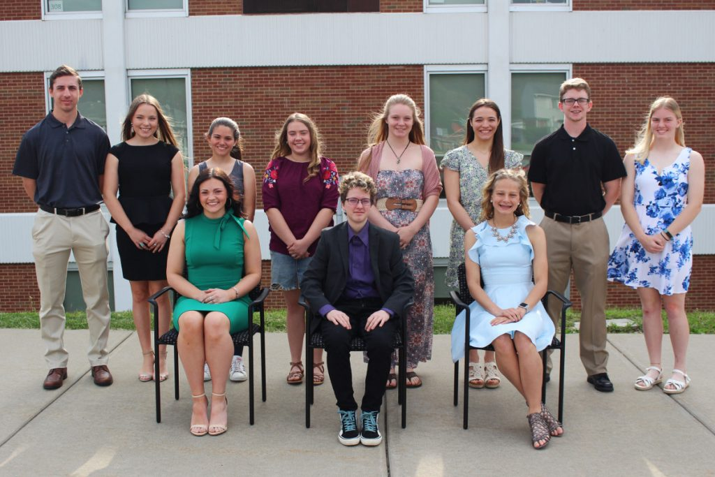Seated from left, alphabetically, is the Top 1%: Haleigh Henderson, Sav Nelson and Zara Zervos. Standing from left, alphabetically, is the Top 5%: Derek Black, Natalie Keim, Sabrena Palmer, Lakyn Parker, Josilee Scott, Laura Siler, Grant Swift and Tessa Wise. Not pictured: Kealyn McCardle.