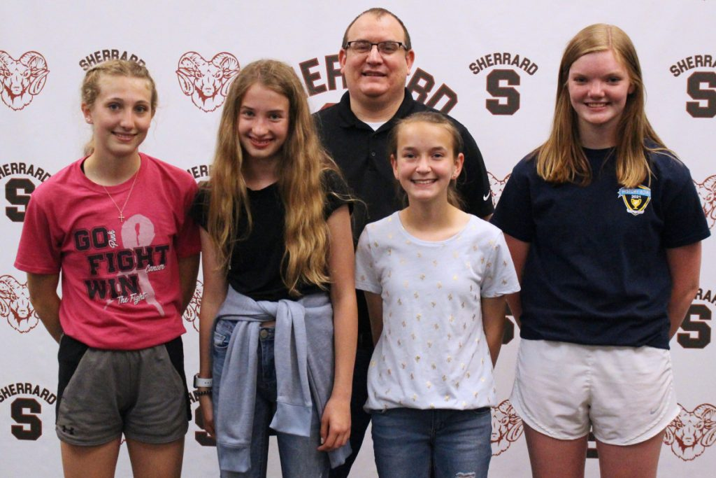 The 2021 WV History Bowl 2nd place team at SMS includes, from left, Tori Finley, Ella Naome, Cameron McCord and Sydney Gray. Also pictured is Coach Dan Gatts.