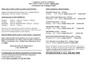 Reservations are being taken for the Marshall County Schools Spring Adult Education classes.