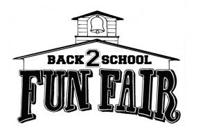 Black and white Back 2 School Fun Fair logo that is shaped like an old schoolhouse.