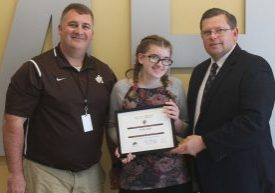 The Moundsville Knights of Columbus recognized John Marshall High School freshman Kaitlin Briggs as May Student of the Month.