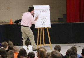 Duane M. Abel, the creator of the comic strip ZED, visited Glen Dale Elementary School Thursday afternoon.