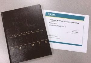 The John Marshall High School Pride Yearbook program recently received a First Class Ranking from the National Scholastic Press Association (NSPA).