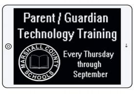 Ipad with parent/guardian technology help every Thursday through September written in white with a white Marshall County Schools circle logo.