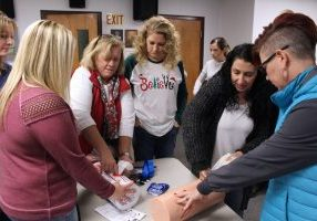 "Friday morning the school nurses of Marshall County Schools received ""Stop the Bleed"" training from Cameron High School Nurse Dawn Adkins."