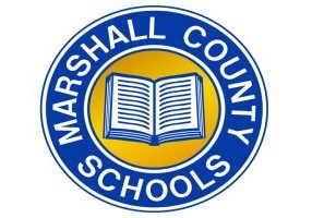 Blue and Gold Marshall County Schools circle logo with a white book in the middle